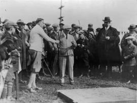 W. Dalton at ceremonial tee-off for the opening of golf course on Vancouver Exhibition grounds