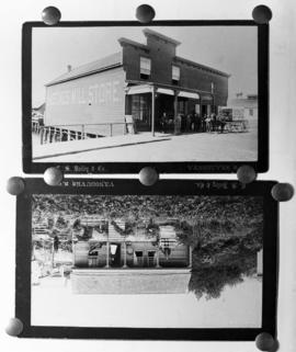 [Reproduction of two of C.S. Bailey photographs showing the Hastings Mill Store and a house]