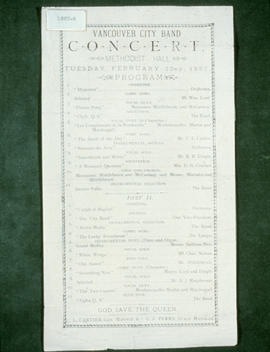 Vancouver City Band Concert program