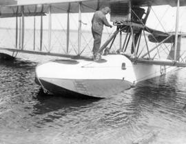 [Captain Glover, Major [Tudhope?] M.C, and Mayor L.D. Taylor in seaplane at Jericho Beach Station...