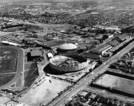 Aerial view of partially completed construction of Pacific Coliseum