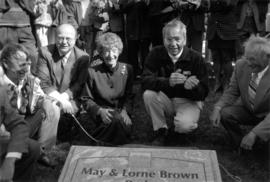 May Brown at dedication of the May and Lorne Brown Park with Mayor Philip Owen