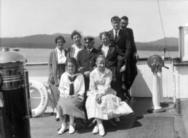 "[Captain Browne and passengers aboard S.S. ""Camosun""]"