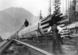 [A pipeline under construction at Buntzen Lake Dam]