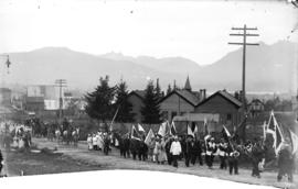 [Chinese funeral procession passing False Creek School (Mount Pleasant School) at Westminster Roa...