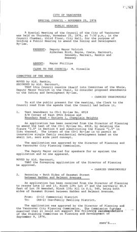 Special Council Meeting Minutes : Nov. 25, 1976