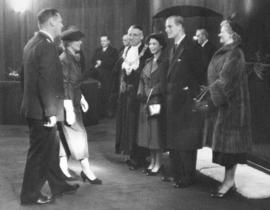 [Chief Constable and Mrs. W.H. Mulligan greet H.R.H. Princess Elizabeth and H.R.H. Philip Duke of...