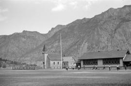 [Unidentified church and school]