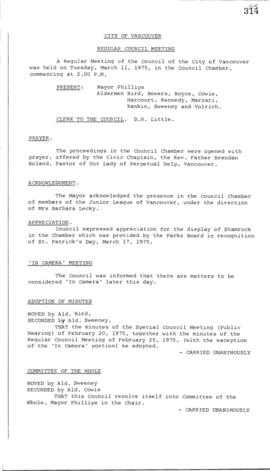 Council Meeting Minutes : Mar. 11, 1975