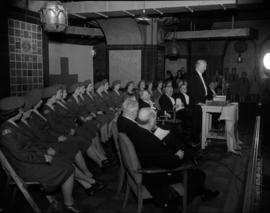 [Red Cross officials and transfusion service workers listening to a speech at the Hotel Vancouver]