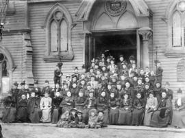 [The first Women's Missionary Society in front of Homer Street Methodist Church]