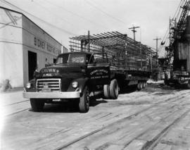 The shaft steel of the piers were prefabricated and brought in on semi-trailer trucks