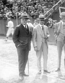 [Hon. Thomas Dufferin Pattullo (Premier)  with Mayor L.D. Taylor at the opening of baseball season]