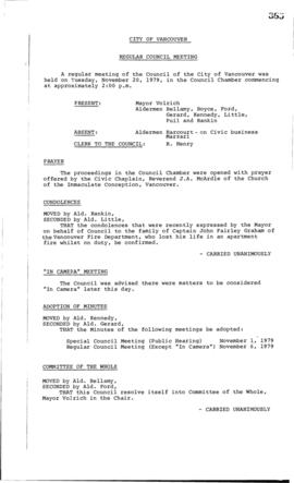 Council Meeting Minutes : Nov. 20, 1979