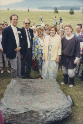 Group assembled around rune stone at Scandinavian Festival
