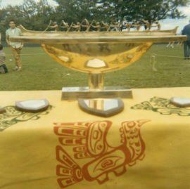 [Trophy and plaques at First Nations celebrations at Brockton Oval]