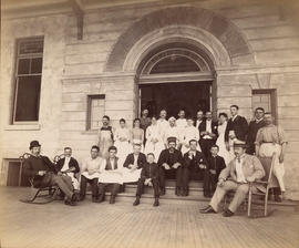 [Staff of first Hotel Vancouver gathered in the Georgia Street entrance]