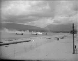 Landing barges at Kitsilano Beach [during military exercises]