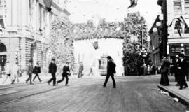 [Civic Arch, Hastings Street and Granville Street]