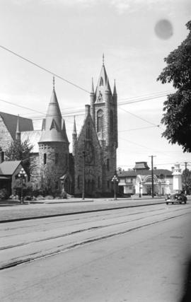 [View of St. Andrew's Church at Pandora Street and Quadra