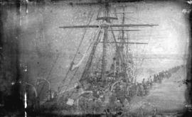 [People gathered to view ship at C.P.R. dock]