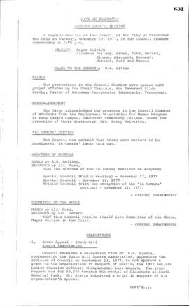 Council Meeting Minutes : Nov. 29, 1977