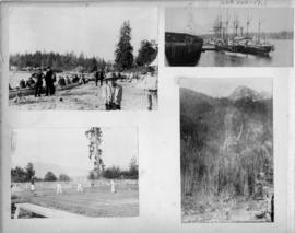 Scenes of ships in harbour, English Bay, tennis courts and mountain views