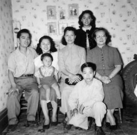 Mrs., Chan, Lillian Wong, Guy Yee, Alfred, Phyllis, Darrell, and an unidentified young woman