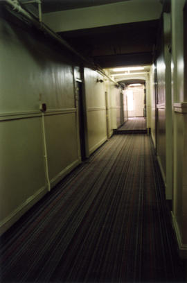Interior hallway of Columbia Hotel at 303 Columbia Street