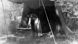 [Beatrice Timmins at] our camp, Bonaparte River