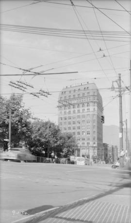 The Dominion Bank Building, Cambie [Street] and Hastings [Street], looking north down Cambie Street