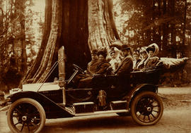 [Group of people in] automobile at the Hollow Tree in Stanley Park