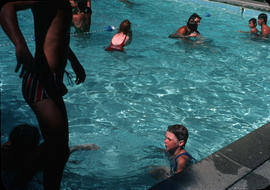 Children swimming in pool at Camp Capilano