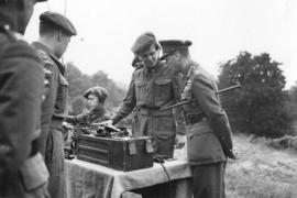 "[His Majesty The King inspecting cadet's wireless telegraph equipment at the camp at ""Alders..."
