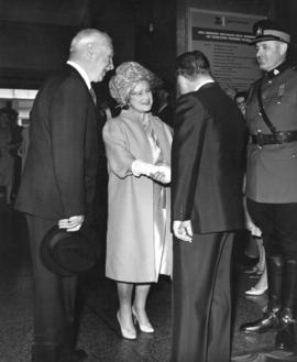 [Queen Elizabeth the Queen Mother is greeted at the Hotel Vancouver]
