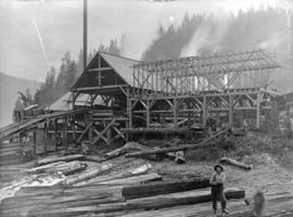 [Men standing with logs in front of Fraser Valley Sawmill]