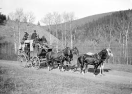 [Men seated on top of coach of B.C. Express Company Cariboo Royal Mail stagecoach]