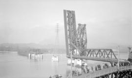 [Second Narrows Bridge under construction]