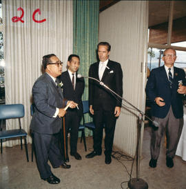 Yokohama Mayor I. Asukata, Vancouver Mayor Tom Campbell, P.N.E. President H. Fairbank and others ...