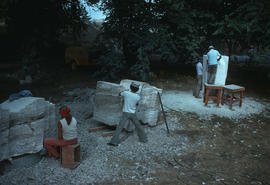Sculptors at work. Left to right: Hiromi Akiyama, Kiyoshi Takahashi and unidentified assistant ca...