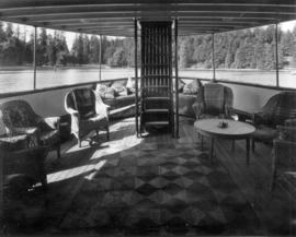 "[Covered lounge on the deck of the""Taconite""- R.V.Y.C.]"