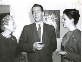 Mrs. A.E. Jukes, Alan Jarvis and Mrs. Blair Peterson at reception given by Women's Auxiliary to V...
