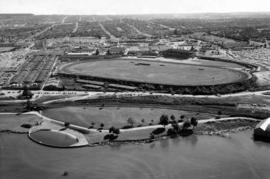 Aerial photograph of P.N.E. grounds and New Brighton area