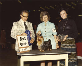 Best in Group [Toy Group: Yorkshire Terrier] award being presented at 1975 P.N.E. All-Breed Dog Show