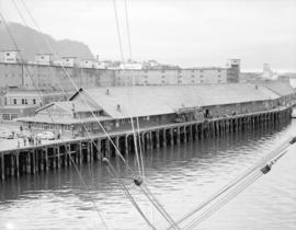 [View of Canadian National Railway terminal, Skagway Alaska from a ship]