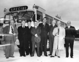 [North Vancouver civic officials in front of a new B.C. Electric Railway bus]