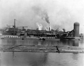 [View of Robertson and Hackett Sawmill Co. Ltd. on the north side of False Creek]