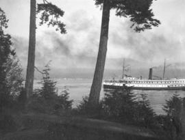 Ship Passing Stanley Park, Vancouver