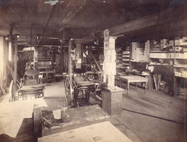 [Printing room of The Telegram Newspaper at 321 Cambie Street]