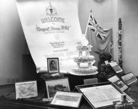 [Window display at the B.C. Electric Railway Company commemorating the birthday of Miss Margaret ...